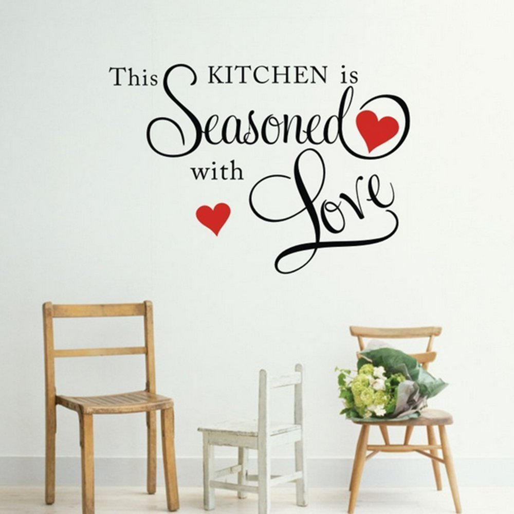 Black 17'' X 23'' This Kitchen is Seasoned with Love Wall Quote Sticker