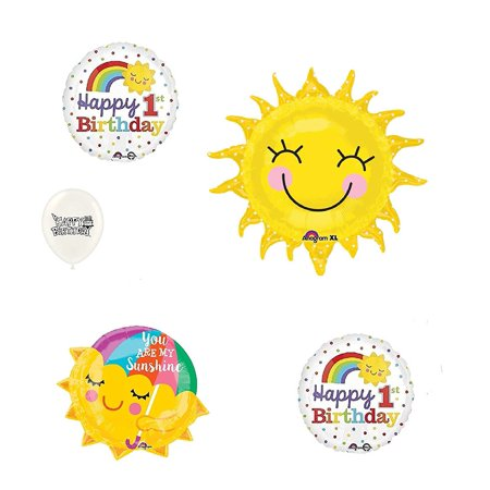 You are my Sunshine 1st Birthday Rainbow Sunshine 5 Piece Bouquet of Balloons (Balloons Price)