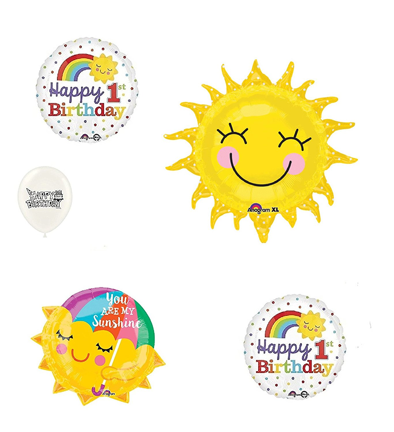 You are my Sunshine 1st Birthday Rainbow Sunshine 5 Piece Bouquet of Balloons