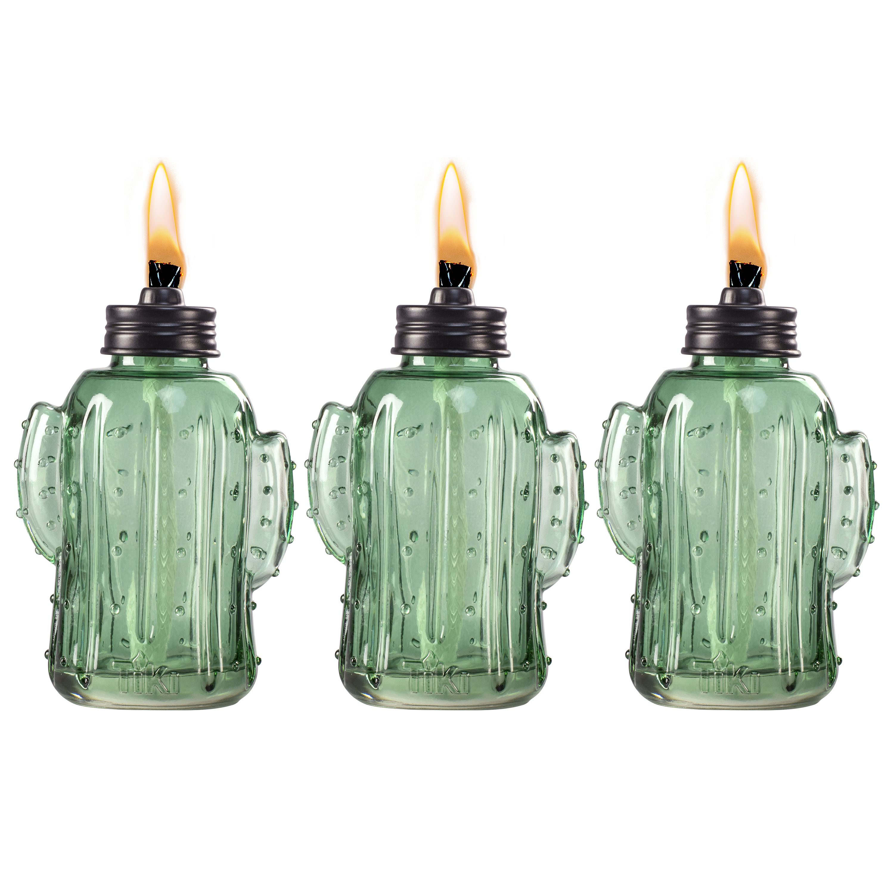 TIKI® Brand 6.25-inch Chiko Cactus Glass Table Torch Green 3-pack