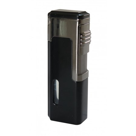 Torch Lighter Punch - Tsunami Quad Torch Red Flame Lighter w/ Retractable Punch - Black