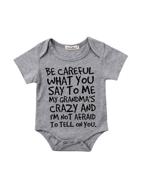 BE CAREFUL Newborn Baby Boy Girl Toddler Grandma Romper Jumpsuit Bodysuit Clothes Outfits Gray