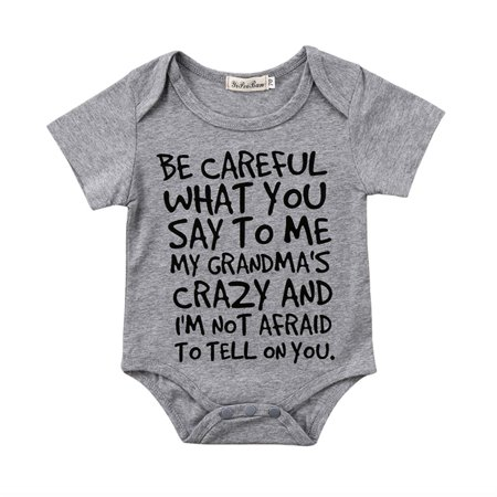 BE CAREFUL Newborn Baby Boy Girl Toddler Grandma Romper Jumpsuit Bodysuit Clothes Outfits Gray (Baby Clothes Boy)