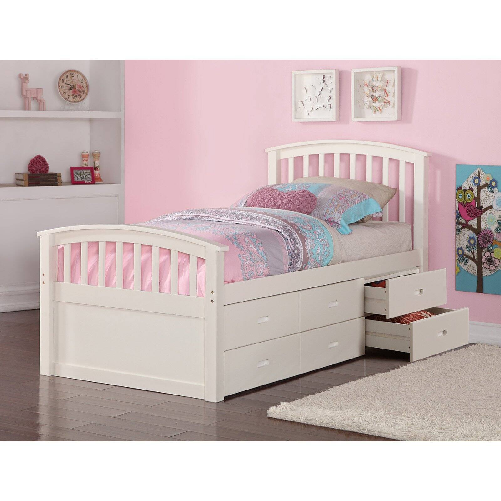 Picture of: Donco Kids Pd 425w 6 Drawer Storage Bed Twin Size 44 White Walmart Com Walmart Com