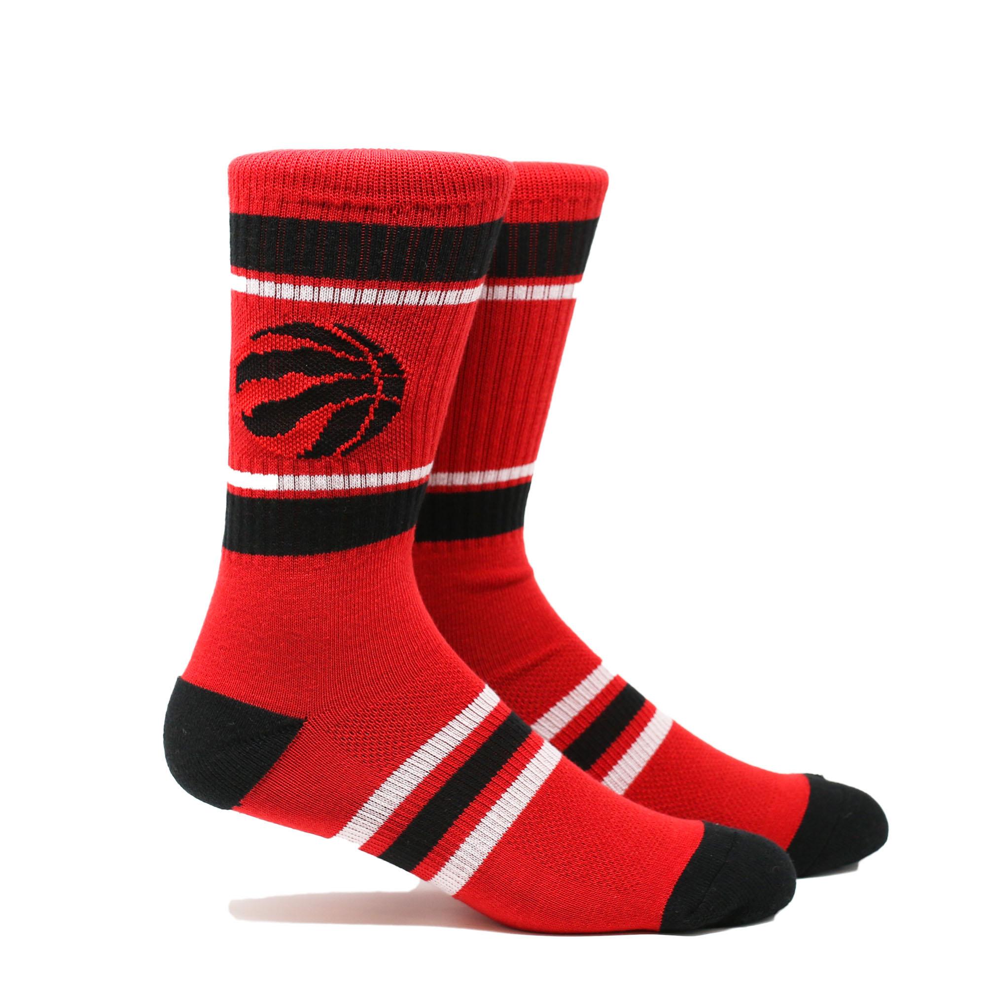 Toronto Raptors Stripe Crew Socks - Red - L