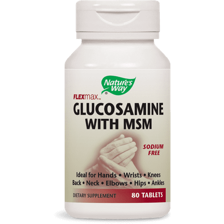 Nature's Way Flexmax Glucosamine with MSM Tablets, Sodium-Free, 80 Ct