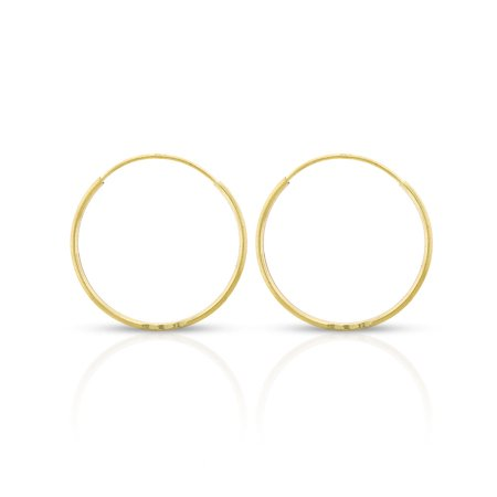 14k Yellow Gold Womens Diamond Cut 0.8mm Round Endless Tube Hoop Earrings 16mm Diameter