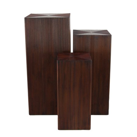 Traditional 24, 30, and 36 Inch Brown Square Tower Pedestals with Ribbed Design - Set of 3