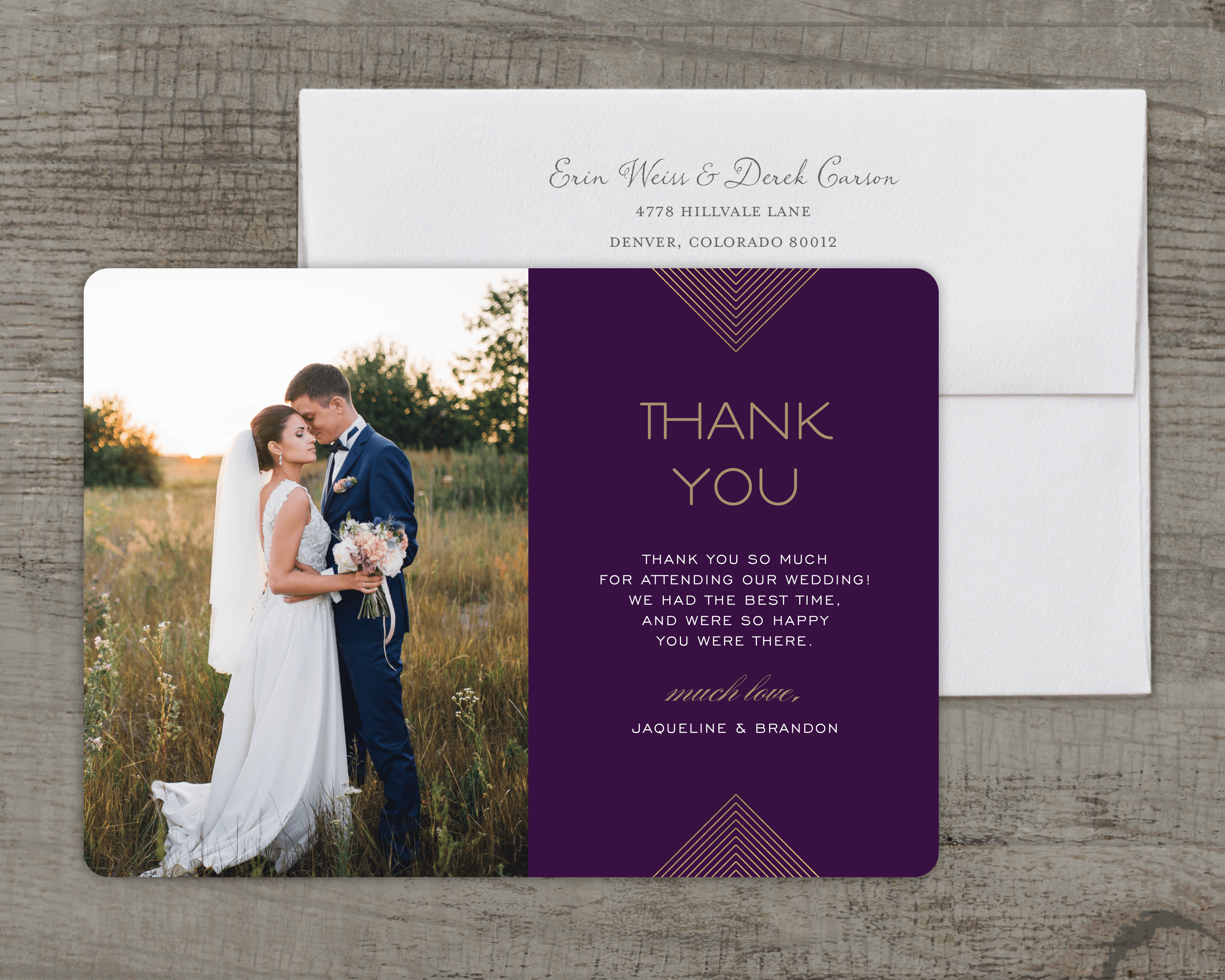 personalized wedding thank you card modern geo 5 x 7 flat deluxe