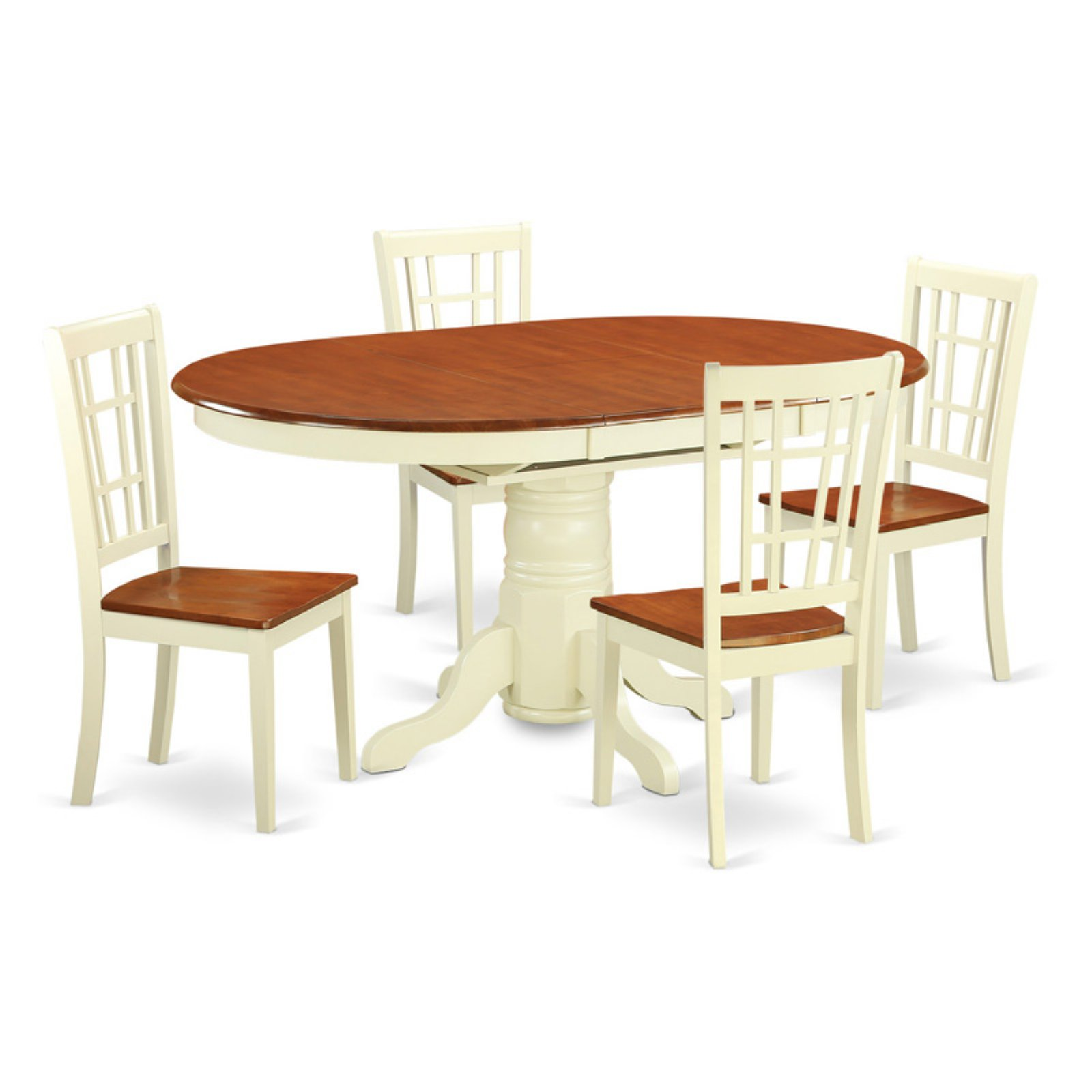 East West Furniture Avon 5 Piece Oval Pedestal Dining Table Set with Nicoli Chairs