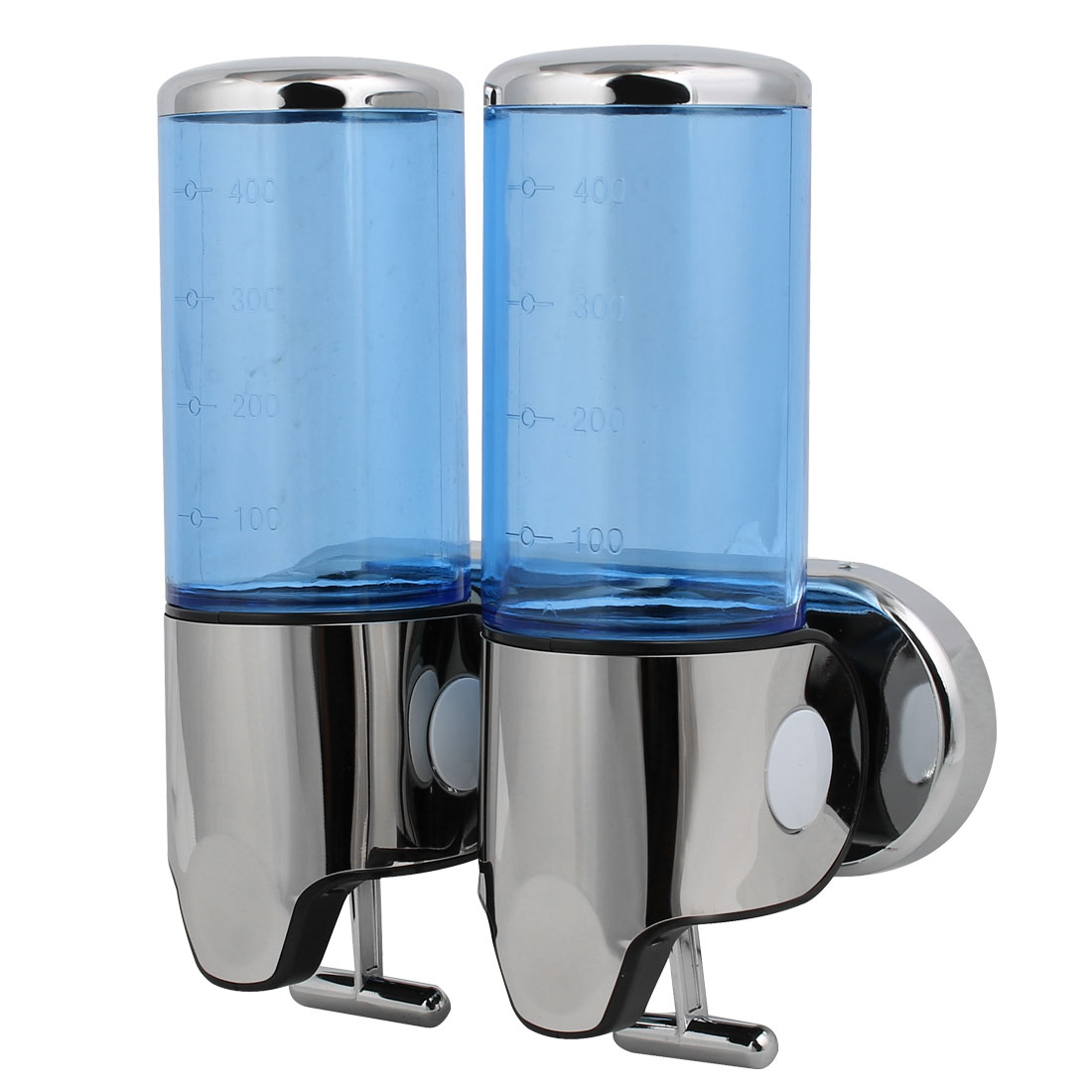Uxcell ABS Plastic Wall Mount Double Chember Soap Dispenser Blue, 17 oz Each Capacity