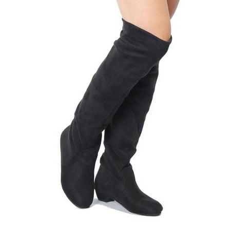 d42d403ee8d0 Meigar - New Women Thigh High Heel Over Knee Suede Stretch Slouch Warm Winter  Boots Shoes - Walmart.com