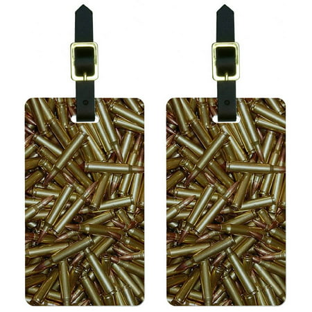 Bullets Rifle Gun Weapon Luggage Tags Suitcase Carry-On ID, Set of 2