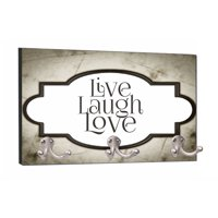 "Live Laugh Love - Grunge Frame Flat Print Design - 8"" by 16"" Mountable Coat Hanger Rack Household Decoration with Three Double Silver Hooks"