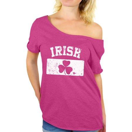 Awkward Styles Women's St. Patricks Day IRISH Clover Vintage Flag Graphic Off Shoulder Tops