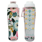 BPA Free Reusable Water Bottle with Time Marker - 30 oz. Motivational Fitness Bottles - Hours Marked - Drink More Water Daily - Tracker Helps You Drink Water All Day