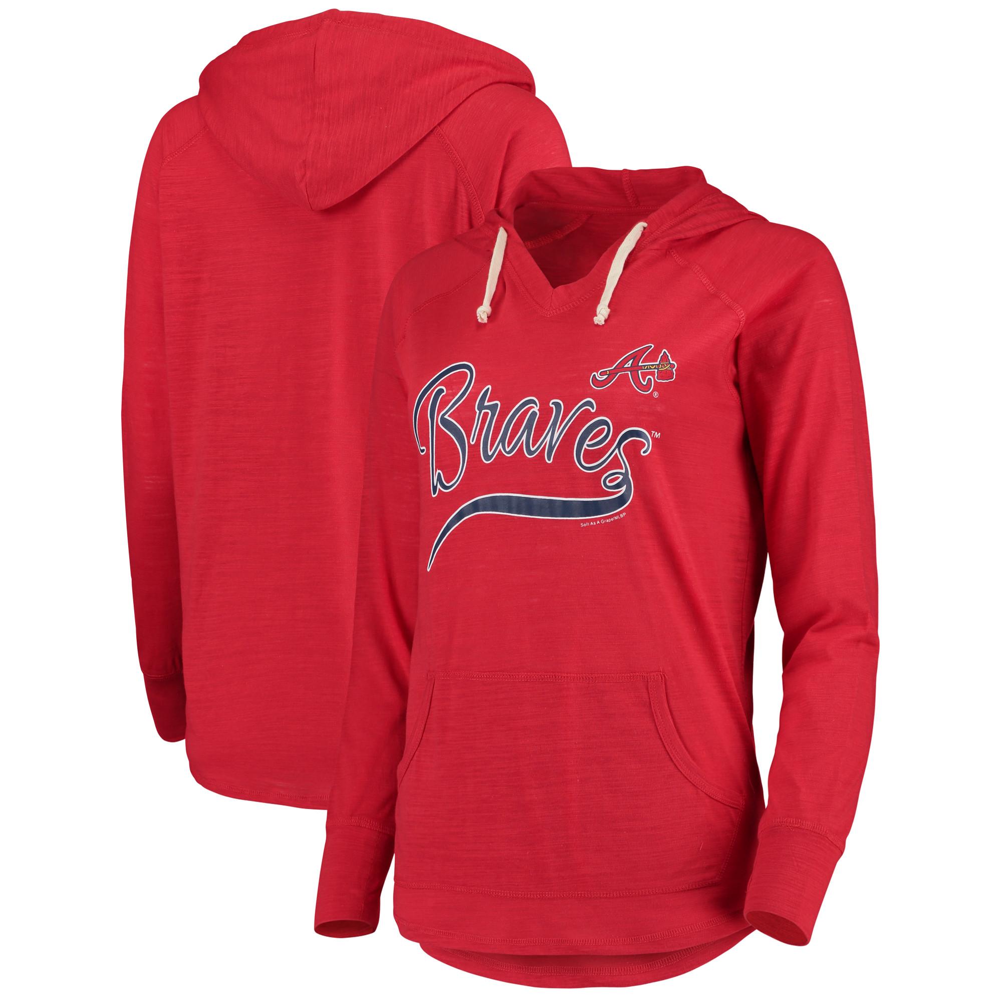 Atlanta Braves Soft As A Grape Women's Third Strike Tri-Blend V-Neck Pullover Hoodie - Red