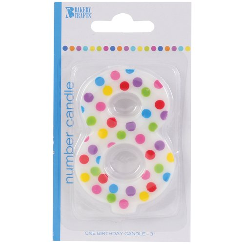 Bakery Crafts Polka Dot Birthday Candle, Number 8