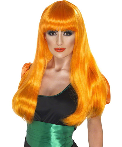 Glamour Witch Womens Sexy Halloween Wig - Orange
