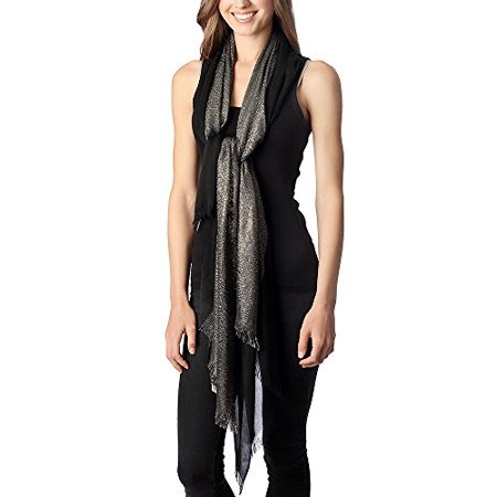 Women's Solid Scarf with Half Metallic Accent (Black) (Scary Half Mask)