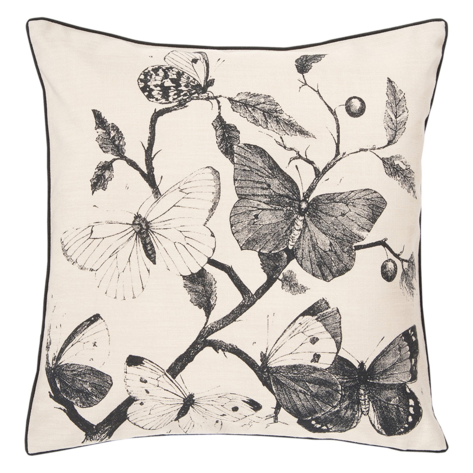 Surya Butterfly Decorative Pillow - Beige - Poly - 18 x 18 in.