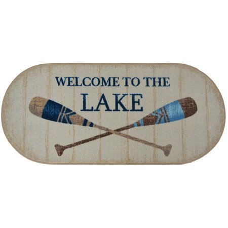 """Dean Washable Non-Slip """"Welcome to the Lake"""" Cabin Mountain Kitchen Bath Door Entrance Mat/Rug 20""""x44"""" Oval"""