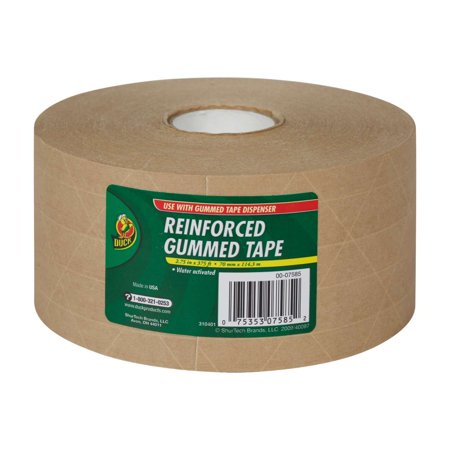 Duck Reinforced Gummed Paper Tape, 2.75 in. x 375 ft., Tan, -