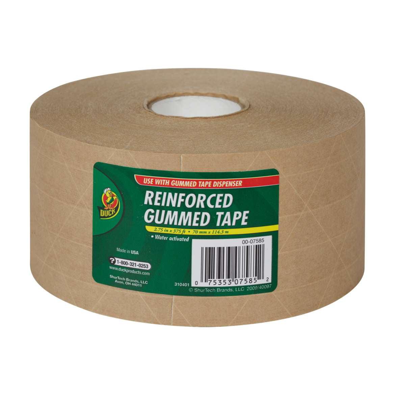 Duck Reinforced Gummed Paper Tape, 2.75 in. x 375 ft., Tan, 1-Count