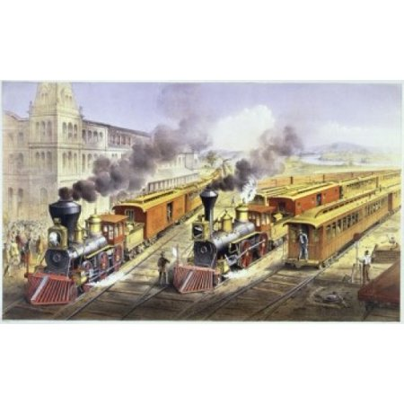 American Railroad Scene-Lightning Express Trains Leaving the Junction  1874  Currier & Ives (Active 1857-1907 American) Color Lithograph  Library of Congress Washington DC Canvas Art - Currier & Ives