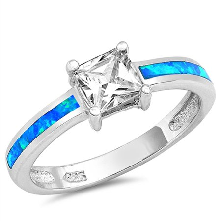 Sterling Silver Women's Flawless Colorless Cubic Zirconia Blue Simulated Opal Simulated Princess Cut Solitaire Square Ring (Sizes 5-10) (Ring Size 8) Solitaire Square Ring