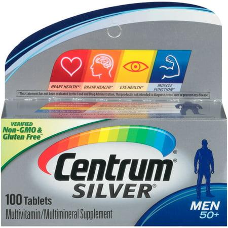 Centrum Silver Men 50+ Multivitamin Tablets, 100 Ct (Centrum Silver 125 Tablets)