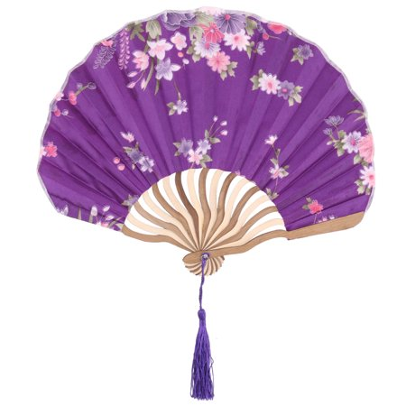 Bamboo Frame Floral Pattern Chinese Style Tassel Decor Hand Folding Fan Purple Chinese Calligraphy Picture Frame