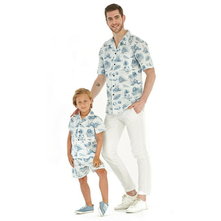 Matching Father Son Hawaiian Luau Outfit Men Shirt Boy Shirt Only Vintage Tropical Toile 2XL-14