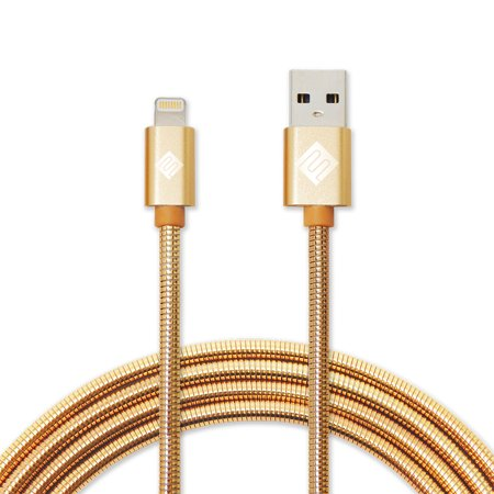 Pleasant Qmadix Full Metal Jacket Apple Lightning Cable 3 3Ft Gold Wiring Cloud Oideiuggs Outletorg