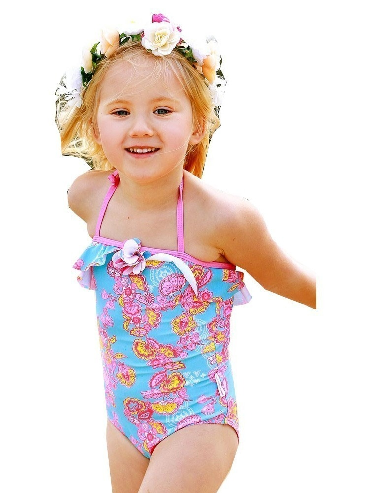 Sun Emporium Baby Girls Blue Pink Blossom Long Sleeved Swimsuit 12-18M