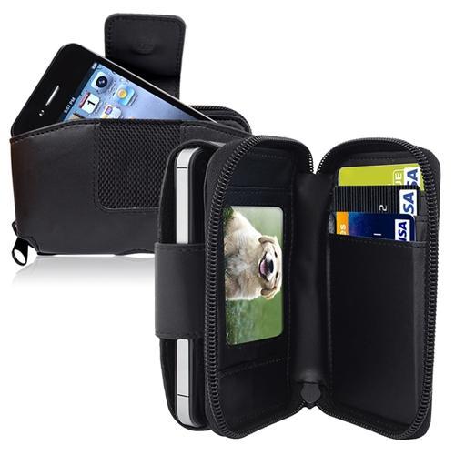 Insten Black Wallert Leather Pouch Case For iPhone 4 4S 3G 3GS Blackberry 8300 8310 8320 Google Nexus One LG LS700