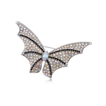 Cool Black Clear AB Crystal Rhinestone Bat Winged Butterfly Custom Pin - Ab Crystal Butterfly Brooch
