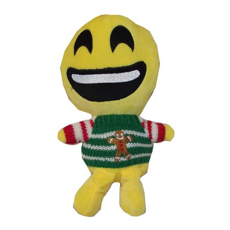 Gingerbread Emoji (Christmas Emoji 12 inch Plush Puppet - Smiley Face (Ugly Xmas Sweater with)