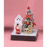 "5.5"" Height Small Fiber Optic Xmas Tree - Santa In Front of House"