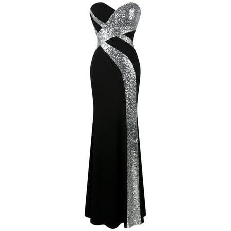 Angel-fashions Women's Strapless Sweetheart Criss-Cross Classic Black White Evening Dress Black (Sweets Dress)