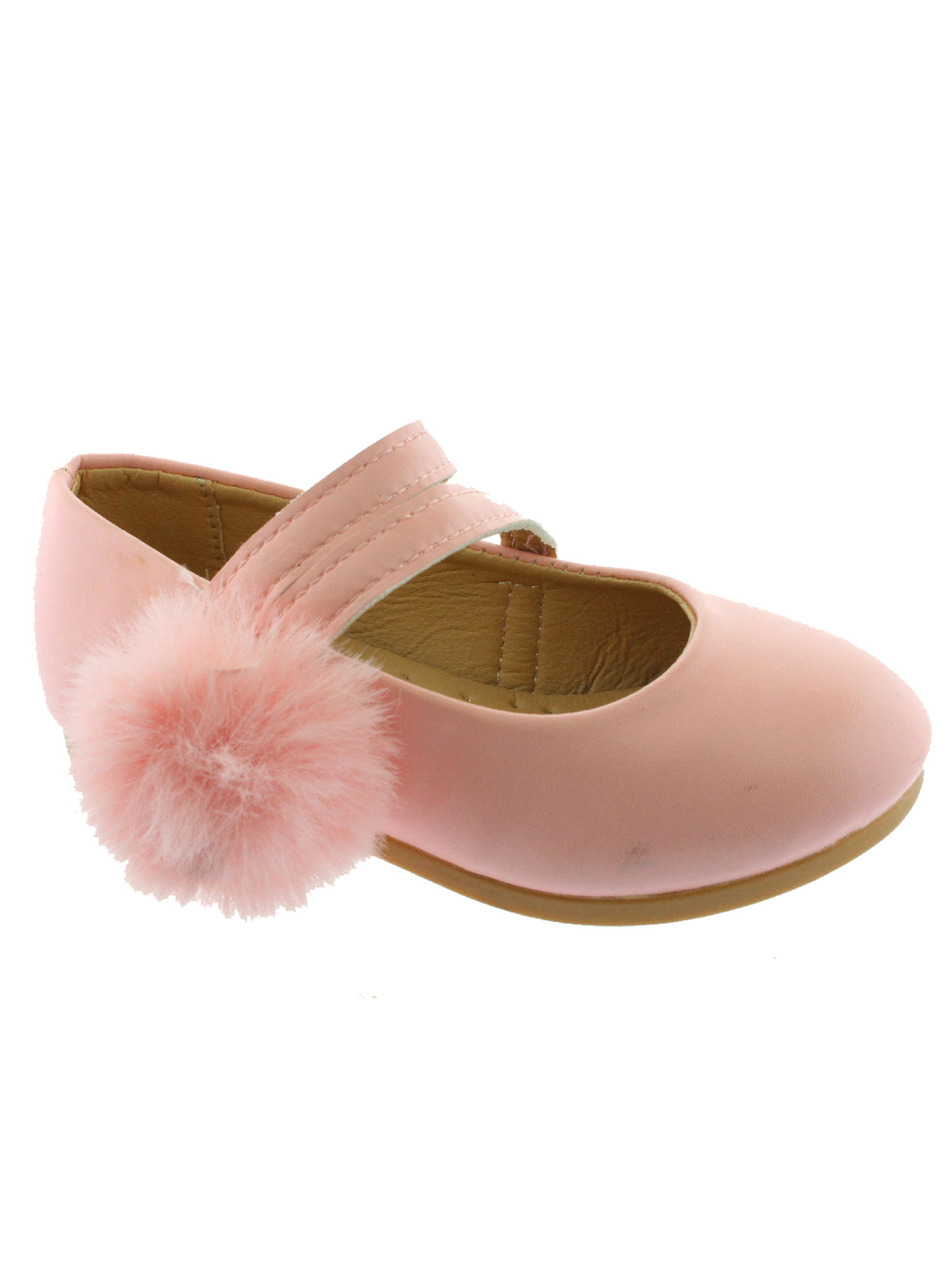 Kate Girls Pink Double Strap Pom-Pom Mary Jane Shoes