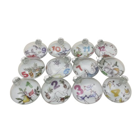 12ct Twelve Days of Christmas Glass Disc Holiday Ornaments 3""