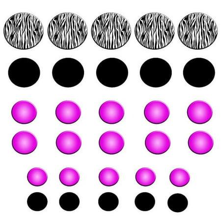 Vwaq zebra stripe wall decals polka dots zebra print circles purple girls room decor peel and