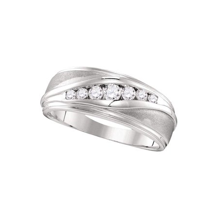 10kt White Gold Mens Round Diamond Wedding Band Ring 3/8 Cttw - image 1 de 1