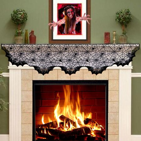 Lace Spider Bats Mantel Scarf Unique Cobweb Fireplace Mantle For Decoration Prop Party D Cor 80inch X 20inch Black