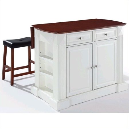 White Distressed Drop Leaf Breakfast Counter Table Kitchen ...