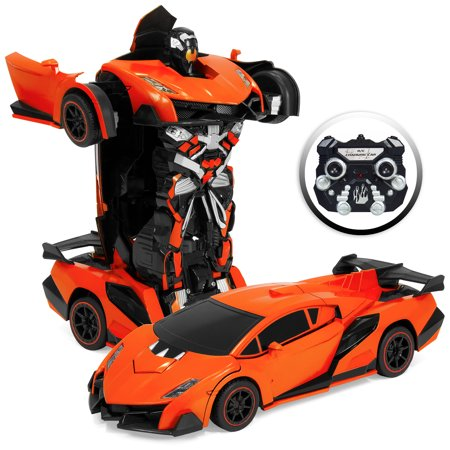 Best Choice Products 1:16 Scale Large Size Kids Interactive Transforming RC Remote Control Robot Drifting Sports Race Car Toy w/ Sounds, LED Lights - Orange