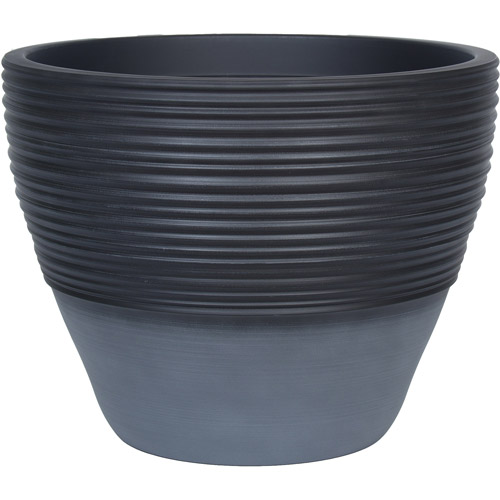 "Better Homes and Gardens Prescott 15"" Decorative Resin Planter, Smoke/Blue Cement"