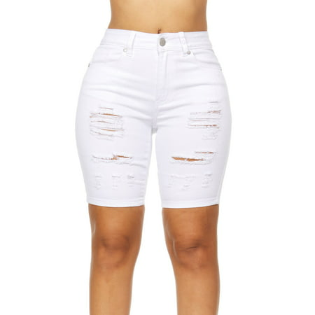 Cover Girl Jeans Juniors Slit Distressed high Rise Bermuda Denim Shorts for Women in White Size 1