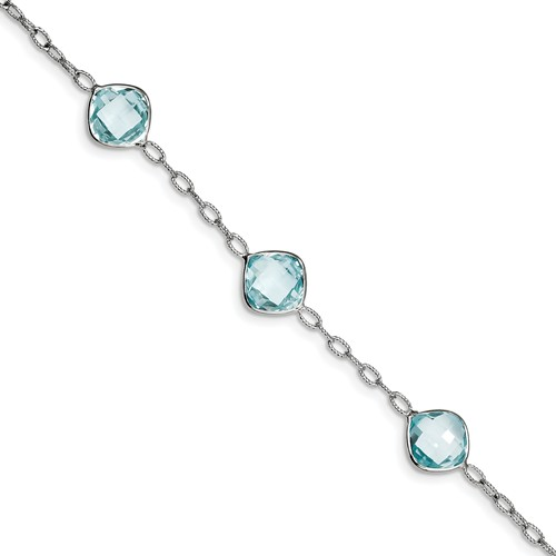 Sterling Silver Blue Topaz Bracelet. Gem Wt- 20ct by Jewelrypot